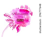 watercolor pink single rose... | Shutterstock .eps vector #296777648