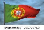 portugal 3d flag on blue sky... | Shutterstock . vector #296779760