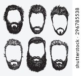 Hipster hair and beards, fashion vector illustration set. | Shutterstock vector #296785538