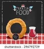 turkish bagel called simit... | Shutterstock .eps vector #296792729