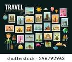 travel  journey. icons set.... | Shutterstock .eps vector #296792963