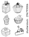 set of sketch cake element.... | Shutterstock .eps vector #296795006