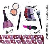 watercolor glamorous makeup set ... | Shutterstock . vector #296802368