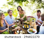 friends outdoors party... | Shutterstock . vector #296822270