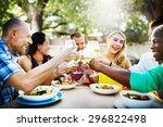 diverse people friends hanging... | Shutterstock . vector #296822498