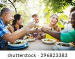 diverse summer friends fun... | Shutterstock . vector #296823383