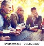 diverse people friends hanging... | Shutterstock . vector #296823809