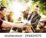 diverse people friends hanging... | Shutterstock . vector #296824370