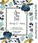 vintage wedding invitation with ... | Shutterstock .eps vector #296836709