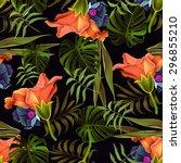 seamless tropical flower  plant ... | Shutterstock . vector #296855210
