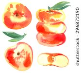 peach painted with watercolors... | Shutterstock . vector #296872190