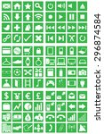 96 icons set green background | Shutterstock . vector #296874584