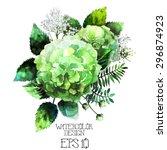 Green Watercolor  Hydrangea...