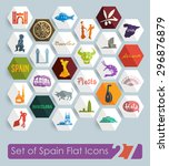 set of spain flat icons for web ... | Shutterstock .eps vector #296876879