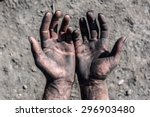 worker man with dirty hands.... | Shutterstock . vector #296903480