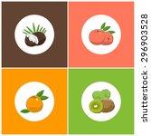 fruit icons  round white fruit... | Shutterstock .eps vector #296903528