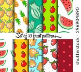 fruit pattern  hand drown ... | Shutterstock .eps vector #296904890