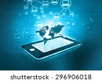 global communication network of ... | Shutterstock . vector #296906018