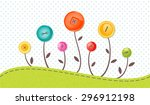 vector greeting card with cute... | Shutterstock .eps vector #296912198