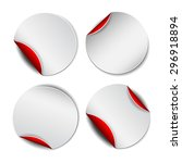 set of white round promotional... | Shutterstock . vector #296918894