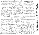 wedding doodles decor.swirling... | Shutterstock .eps vector #296929424