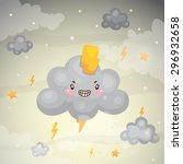cute dark cloud and...   Shutterstock .eps vector #296932658