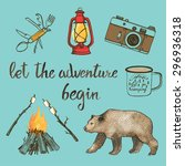 hand drawn camping set with... | Shutterstock .eps vector #296936318