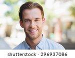 portrait of a handsome smiling... | Shutterstock . vector #296937086