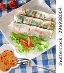 spring rolls with vegetables ... | Shutterstock . vector #296938004