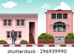 front view of a modern pink... | Shutterstock .eps vector #296939990