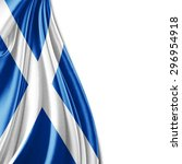 scotland  flag  of silk with... | Shutterstock . vector #296954918