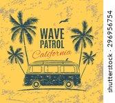 grunge  vintage  retro surf van ... | Shutterstock . vector #296956754
