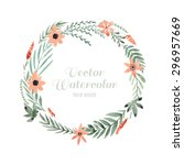 hand painted watercolor wreath... | Shutterstock .eps vector #296957669