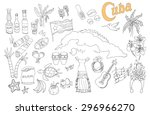 set of hand drawn cuba icons ... | Shutterstock .eps vector #296966270