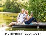 portrait of elderly couple... | Shutterstock . vector #296967869