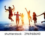 friendship freedom beach summer ... | Shutterstock . vector #296968640
