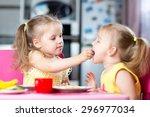 two little children toddlers... | Shutterstock . vector #296977034