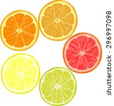 slices of different citrus... | Shutterstock .eps vector #296997098