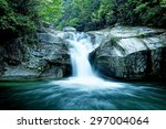 large rain forest waterfall ... | Shutterstock . vector #297004064
