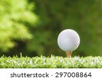 golf ball on tee pegs | Shutterstock . vector #297008864