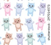 set funny cats  pastel colors... | Shutterstock .eps vector #297014573