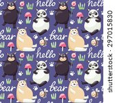 seamless pattern with bears ... | Shutterstock .eps vector #297015830