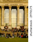 crowd of people in front of berlin reichstag - stock photo