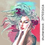 watercolor fashion illustration ... | Shutterstock .eps vector #297031616