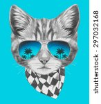 Stock vector hand drawn portrait of cat with mirror sunglasses and scarf vector isolated elements 297032168