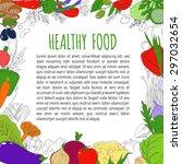 set of healthy vegetarian food. ... | Shutterstock .eps vector #297032654