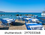 Beach With Traditional Blue...