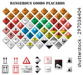 set of dangerous goods placards ... | Shutterstock .eps vector #297036404