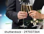 wedding  bride  champagne. | Shutterstock . vector #297037364