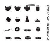 sushi  ramen  japanese food... | Shutterstock .eps vector #297041636